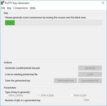 PuTTYgen - losowo generowany klucz SSH